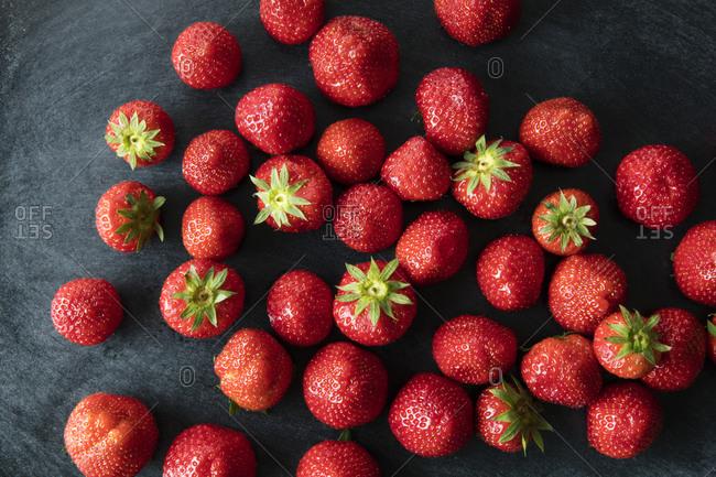 Strawberries on a dark background