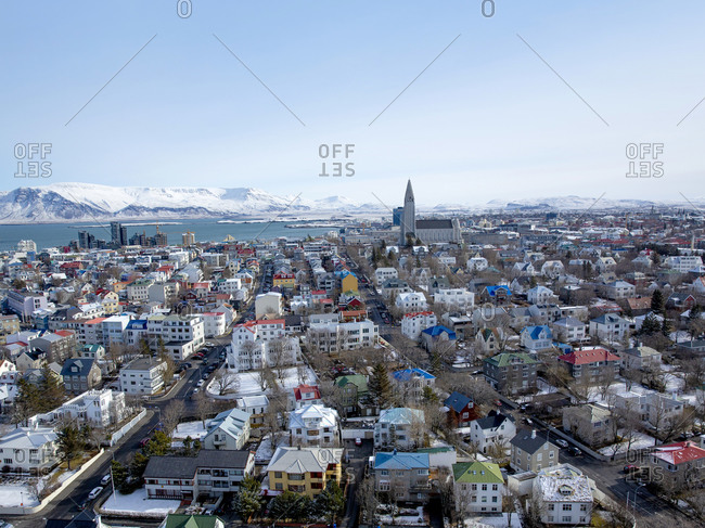 View from above over Reykjavik, Iceland
