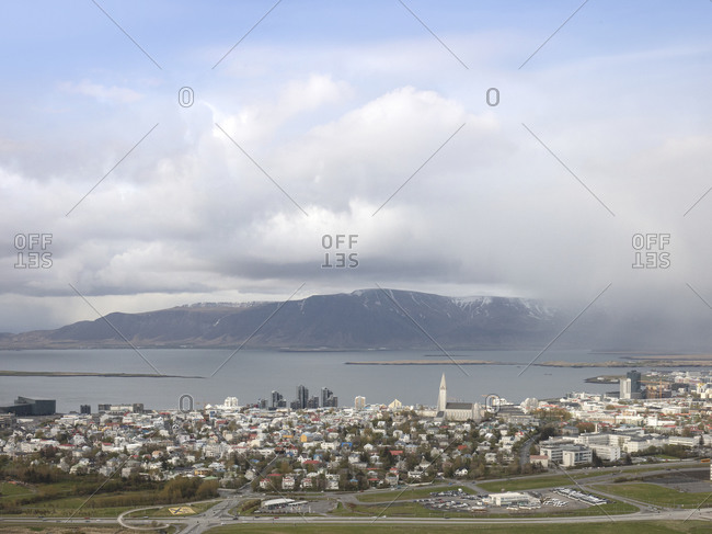View from above over buildings and homes in Reykjavik, Iceland