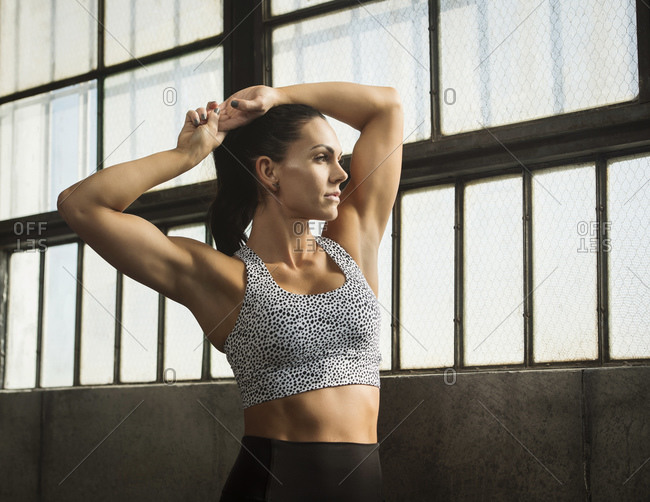 Portrait of woman wearing sports bra