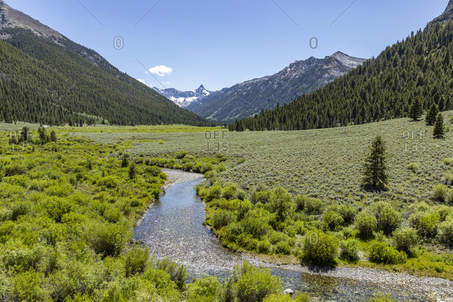 USA, Idaho, Sun Valley, Landscape with river and mountains