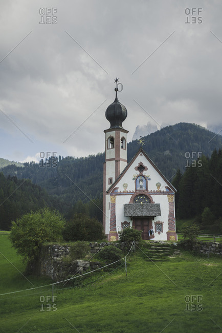 Italy, South Tyrol, Funes, Church of Saint John in Ranui, Small church in mountain
