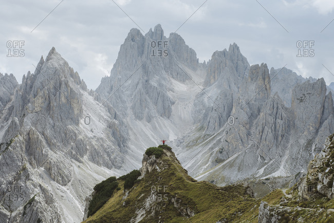 Italy, South Tirol, Belluno, Sexten Dolomites, Cadini di Misurina, Barren mountains on cloudy day