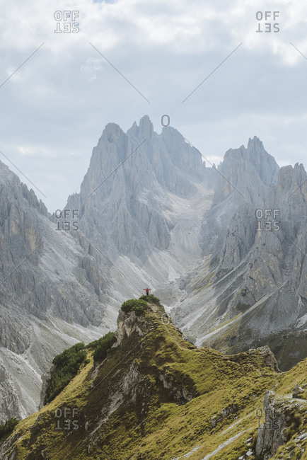 Italy, South Tirol, Belluno, Sexten Dolomites, Cadini di Misurina, Barren mountains on cloudy day