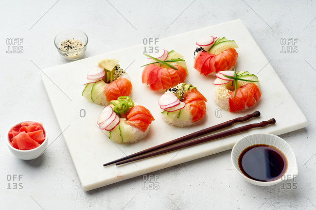 Sushi donuts with salmon and veggies