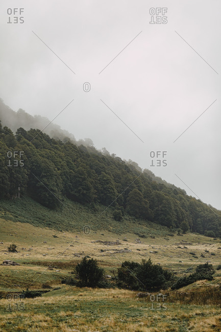 Mountain landscape in the Midi Pyrenees with fog