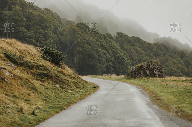 Mountain landscape with road in the Midi Pyrenees with low-lying clouds