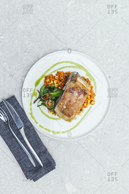 Couscous and meat with fresh mint salad