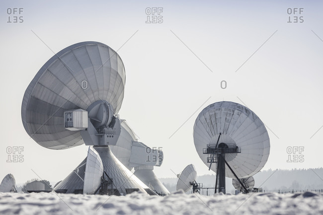 Ground station Raisting in winter- Bavaria- Germany