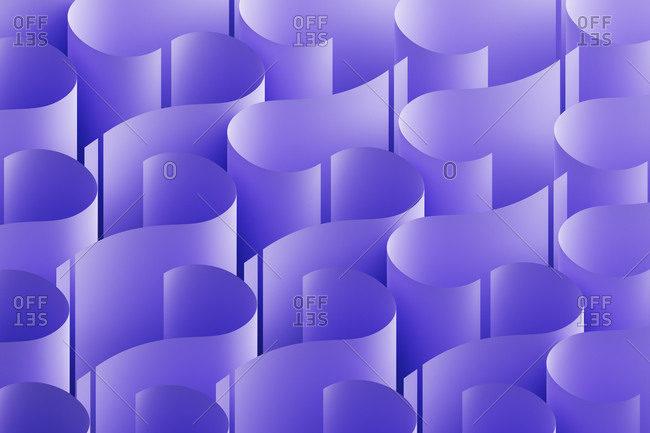 Three dimensional pattern of purple question marks
