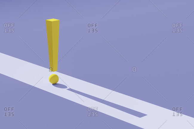 Three dimensional render of yellow exclamation point against purple background