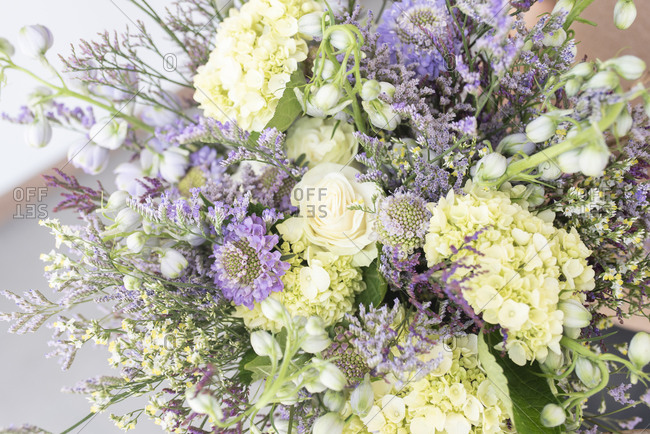 White and purple bouquet of summer flowers