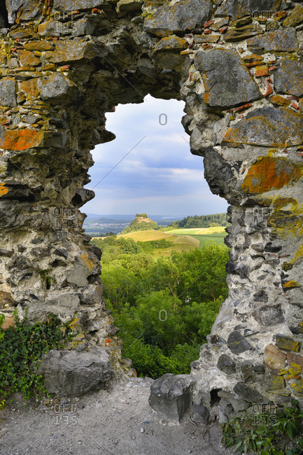 Germany- Baden-Wurttemberg- Hohenkrahen seen through damaged wall of Magdeberg Castle