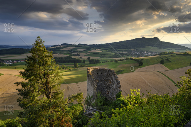 Germany- Baden-Wurttemberg- View from Magdeberg Castle into Hegau and Hohenstoffeln