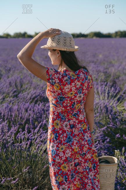 Woman wearing floral dress standing in vast lavender field