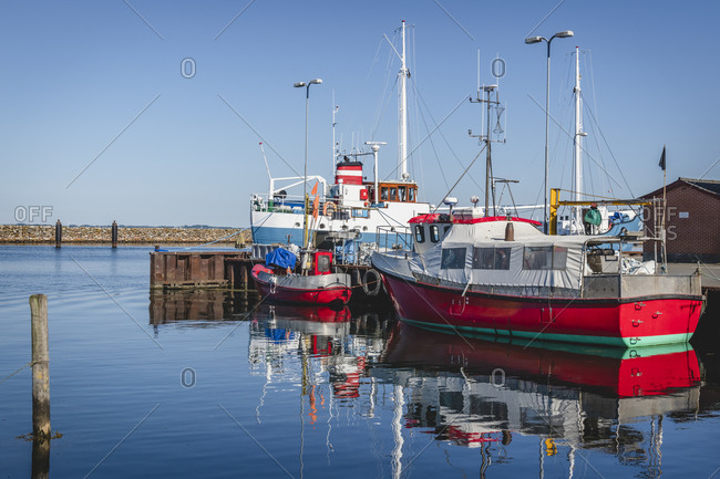 June 15, 2020: Denmark- Region of Southern Denmark- Marstal- Fishing boats moored in marina