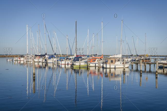 Denmark- Region of Southern Denmark- Marstal- Yachts moored in marina