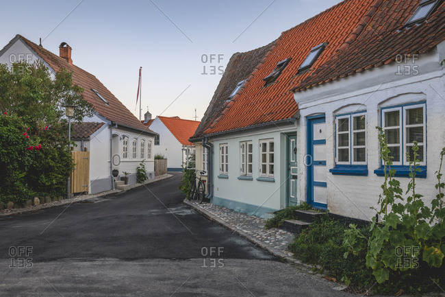 June 15, 2020: Denmark- Region of Southern Denmark- Marstal- Old town houses along empty street