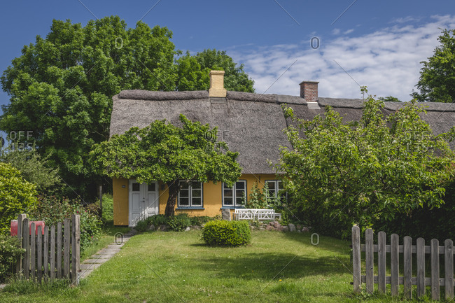 June 16, 2020: Denmark- Region of Southern Denmark- Ommel- Facade of rustic house in spring