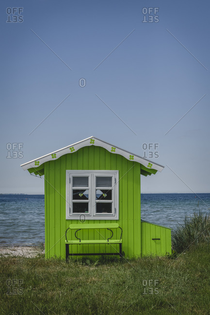 Denmark- Region of Southern Denmark- Aeroskobing- Green-painted coastal bathhouse