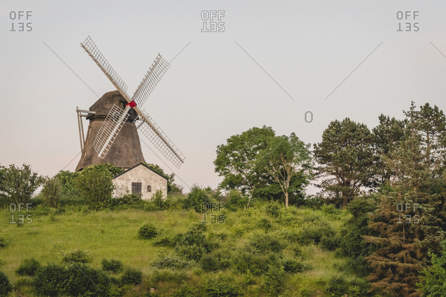Denmark- Region of Southern Denmark- Soby- Trees in front of rustic windmill