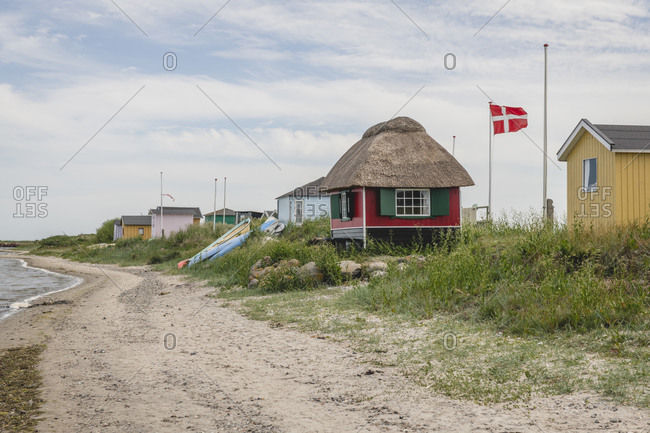 June 18, 2020: Denmark- Region of Southern Denmark- Marstal- Small beachside bathhouses