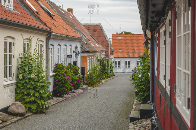 June 20, 2020: Denmark- Region of Southern Marstal- Aeroskobing- Old town houses along empty street