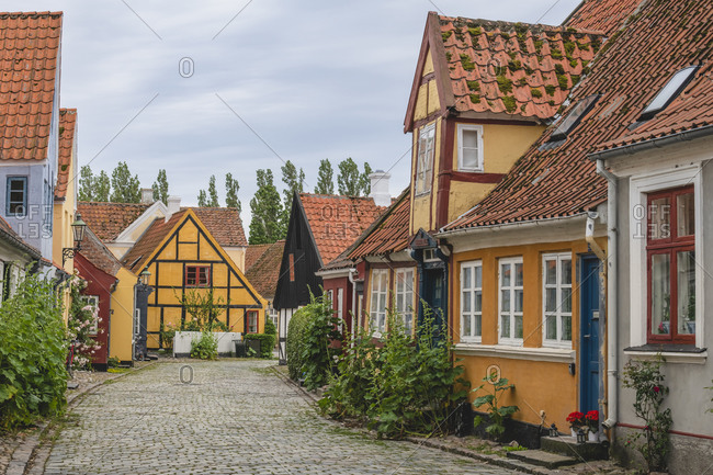 June 20, 2020: Denmark- Region of Southern Denmark- Aeroskobing- Old town houses along cobblestone street
