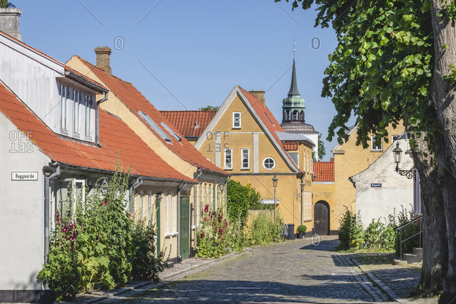 June 21, 2020: Denmark- Region of Southern Denmark- Aeroskobing- Old town houses along cobblestone street