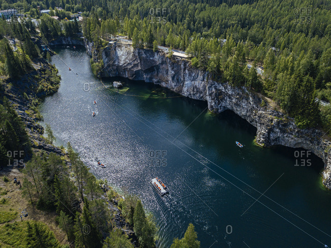 Russia- Republic of Karelia- Sortavala- Aerial view of boats in Marble Lake in summer