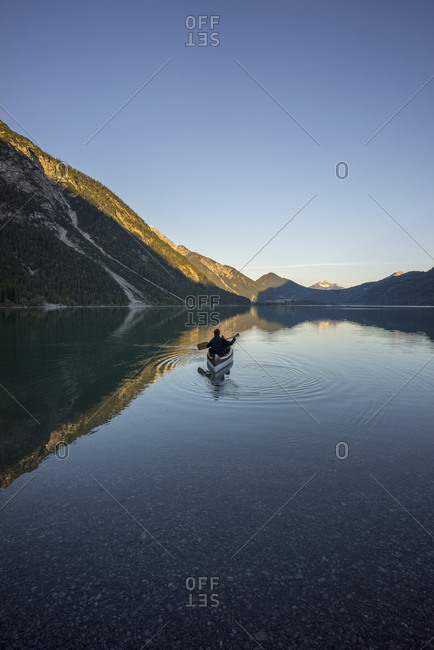 Canoe on Lake Plansee in the evening- Tyrol- Austria