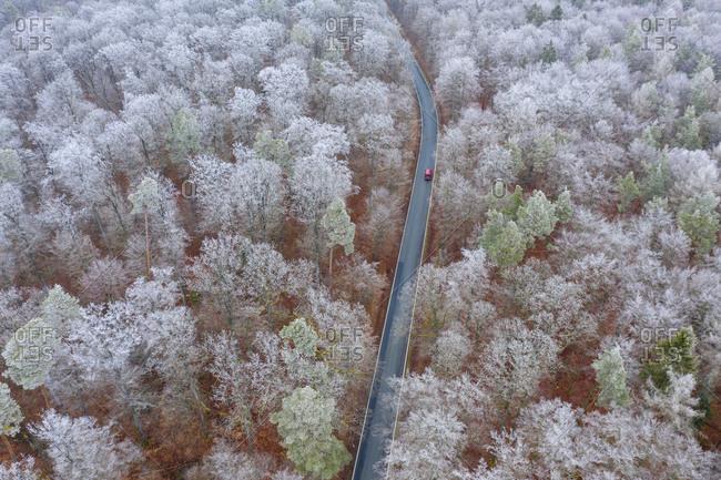 Germany- Bavaria- Drone view of car driving along asphalt road cutting throughSteigerwaldforest in winter
