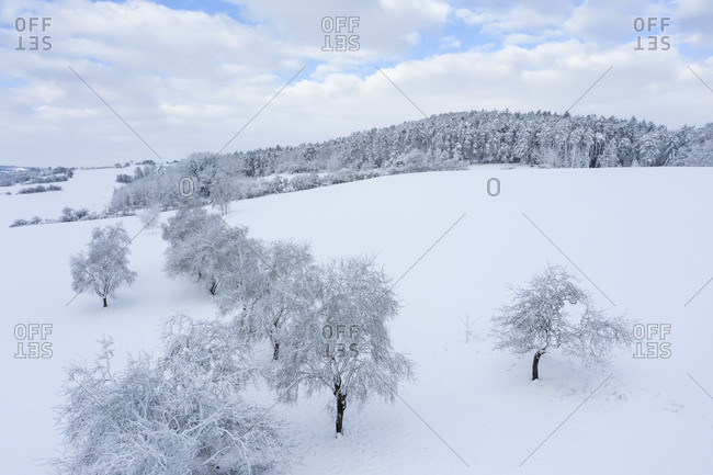 Aerial view of Franconian Heights in winter