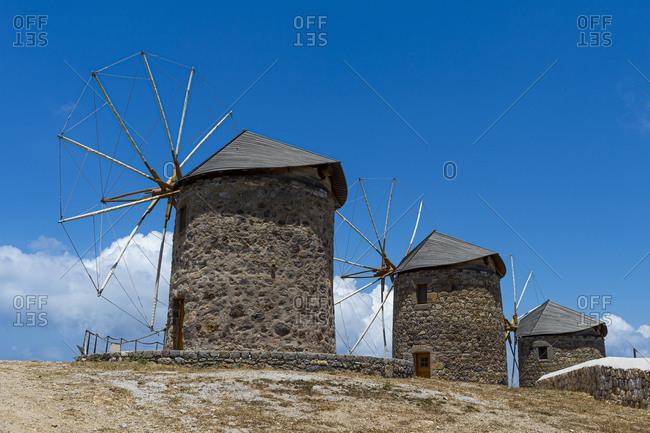 Greece- South Aegean- Patmos- Ancient stone windmills