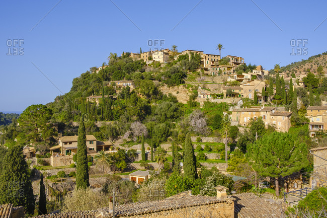 Spain- Mallorca- Deia- Hillside village in Serra de Tramuntana