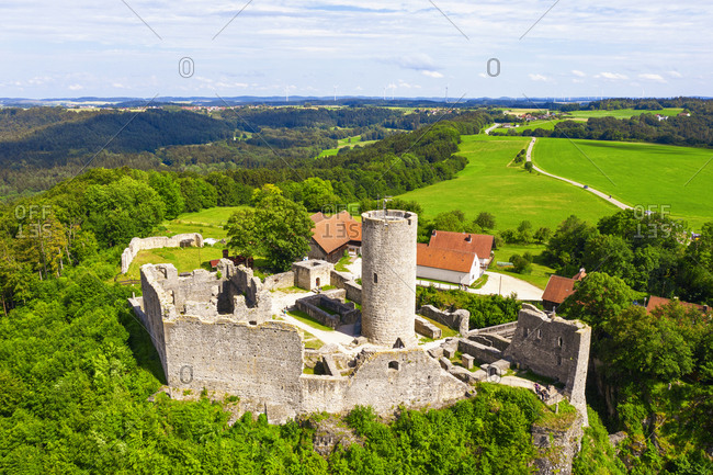 Germany- Bavaria- Neumarkt in der Oberpfalz- Drone view of Burgruine Wolfstein castle in spring
