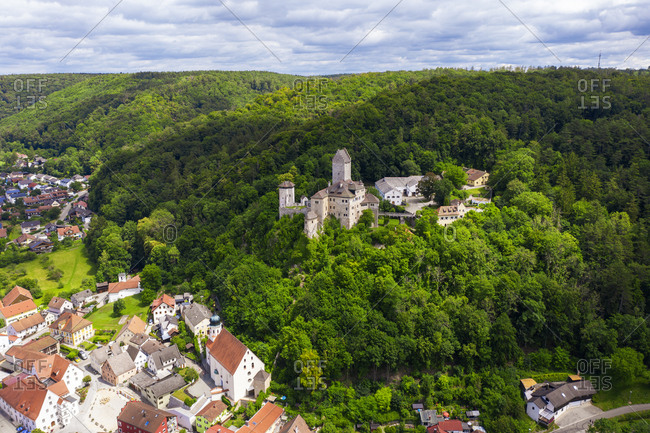 Germany- Bavaria- Kipfenberg- Drone view of Kipfenberg Castle in spring