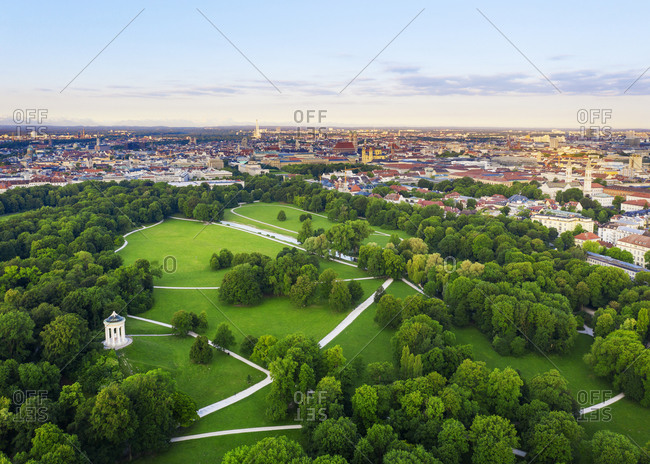 Germany- Bavaria- Munich- Aerial view of Monopteros and English Garden at dawn