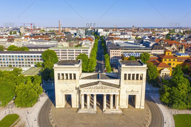 Germany- Bavaria- Munich- Drone view of Propylaea city gate