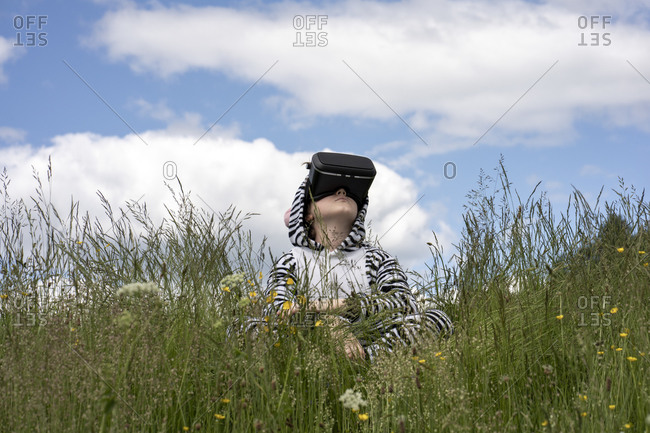 Boy wearing zebra costume using VR simulator while sitting on grass against sky