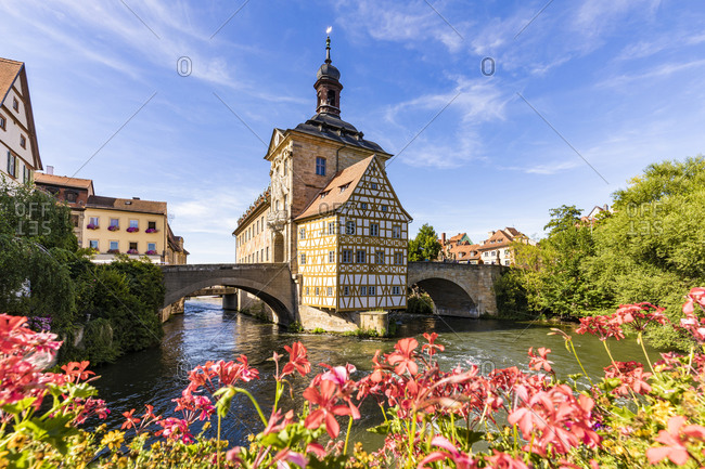 Germany- Bavaria- Bamberg- River Regnitz and old town hall in spring
