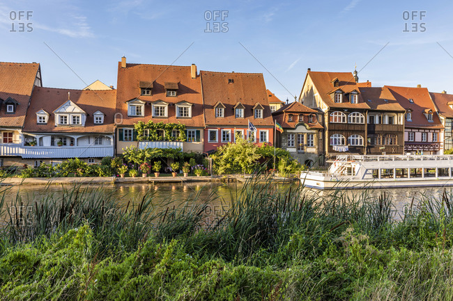 Germany- Bavaria- Bamberg- River Regnitz and Little Venice townhouses in spring