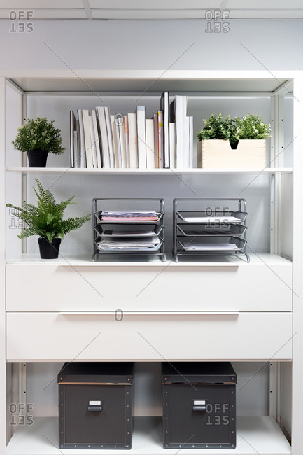 Various books and office paper trays with documents arranged on shelves with green potted plants and archive boxes in contemporary light workspace