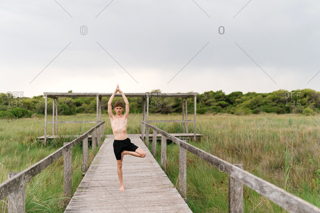 Serene male with naked torso practicing yoga in Vrksasana with Namaste gesture while balancing on leg on wooden terrace in village and looking at camera