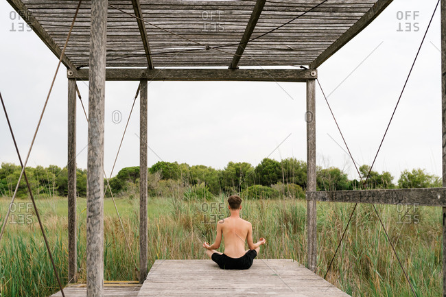 Back view of unrecognizable tranquil male sitting with crossed legs in Padmasana and practicing mindfulness while doing yoga on wooden promenade