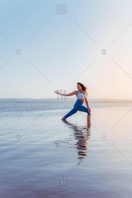 Full body side view of slim young female in activewear standing in Twisted Crescent Lunge Pose with outstretched arm while practicing yoga in summer evening at lake