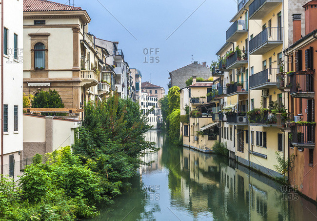 Italy - September 20,  2015: Italia,  Veneto,  Padua,  view from the bridge Santo Gregorio Barbarigo