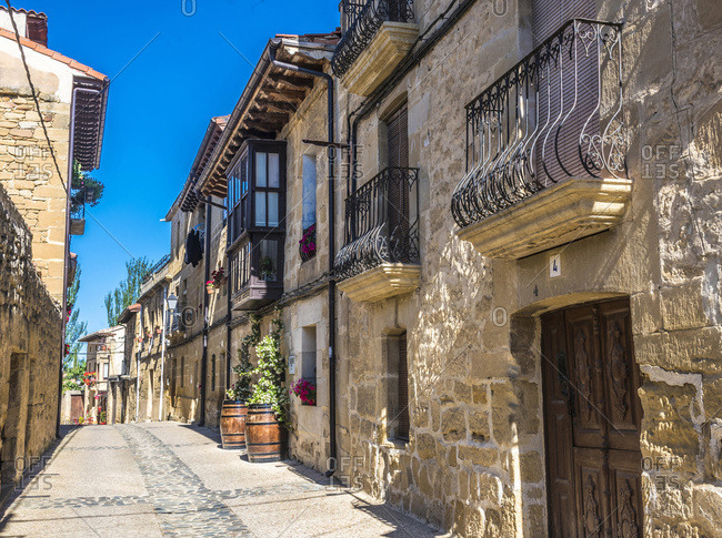 Spain - June 16,  2019: Spain,  Rioja,  Sajazarra (Most Beautiful Village in Spain),  street of the medieval village