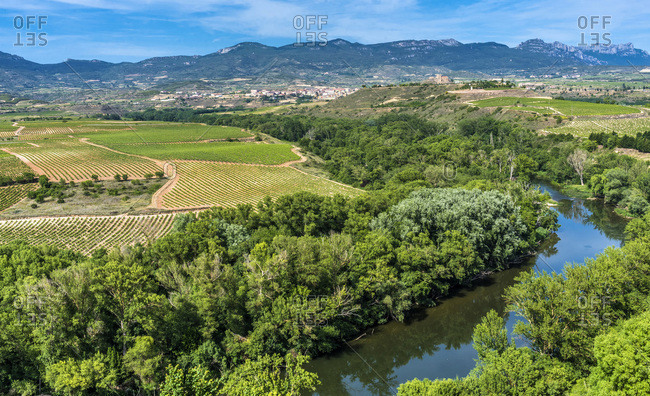 Spain,  Rioja,  Briones medieval village (Most beautiful village in Spain),  meander of the Ebre seen from the village (St James way)