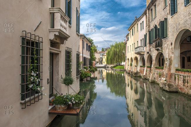 Italy - September 18,  2015: Italy,  Veneto,  Treviso,  canal